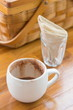 cup of hot chocolate and napkin