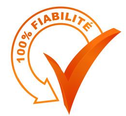 100 pour 100 fiabilité sur symbole validé orange