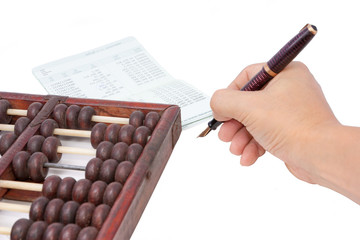 abacus bank passbook and hand hold pen ready to write