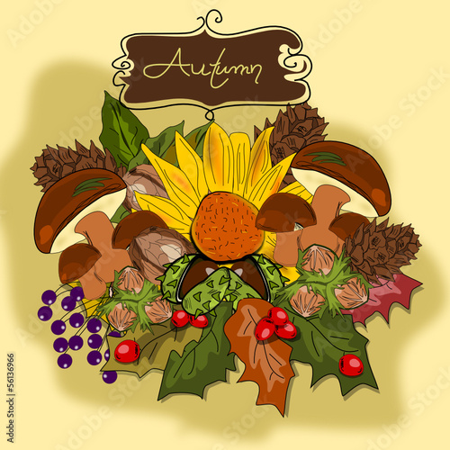 Herbst, Autumn Illustration