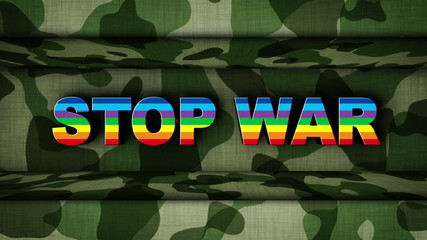 STOP WAR in Military Door (2 Versions)
