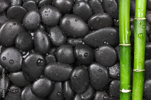 Hot stones with bamboo, background