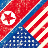 USA and North Korean grunge Flag