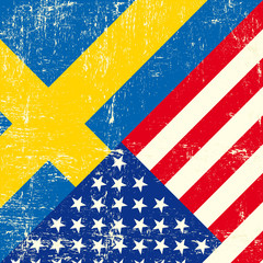 USA and swedish grunge Flag