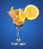 martini glass with orange