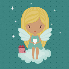 Cute little tooth fairy, sitting on a cloud