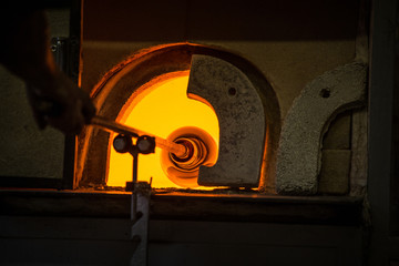 furnaces in the glass factory