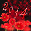 2014, gerberas rouges fond noir