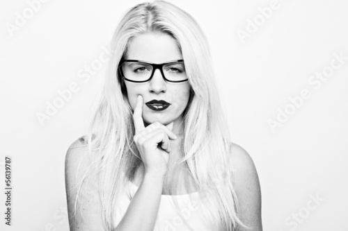 black and white portrait of thinking woman