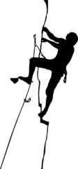 silhouette of a climber in the crack