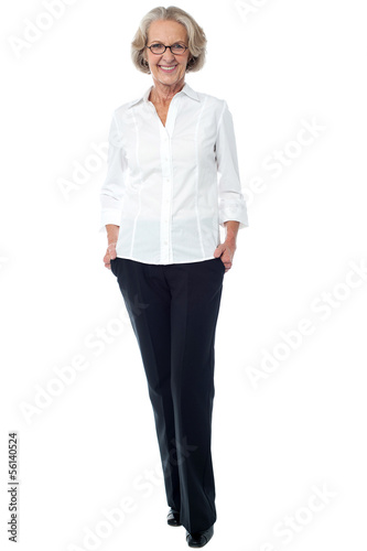 Aged woman in corporate attire