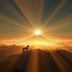 富士山と馬