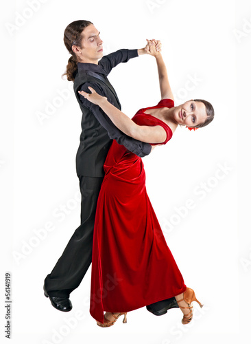 Young couple dancint waltz