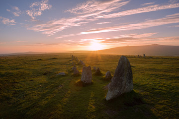 Sunset over Merrivale, Dartmoor Devon Uk