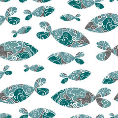 Seamless pattern with blue fish