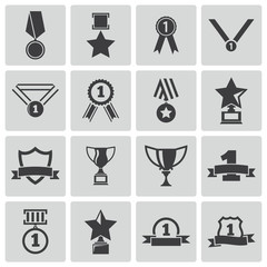 Vector black  trophy and  awards  icons set
