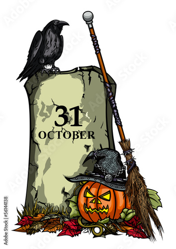 Halloween Pumpkin, Tomb, Raven, Witches Hat and Broom