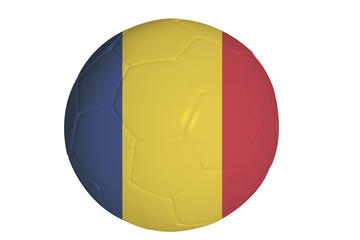 Romanian flag graphic on soccer ball