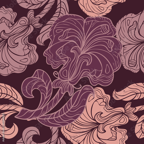 Seamless pattern with pink and purple flowers
