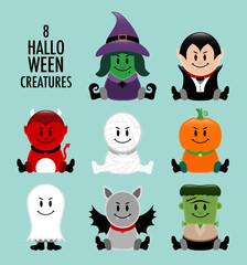 Halloween Creatures Retro