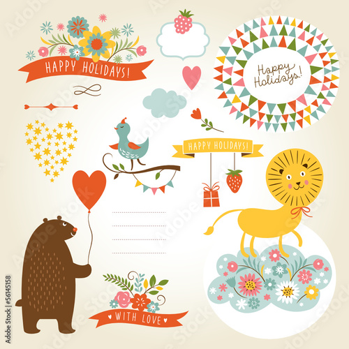 set of holiday graphic elements and cute animals