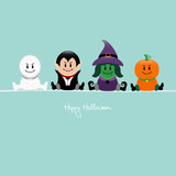 Halloween Mummy, Vampire, Witch & Pumpkin Retro