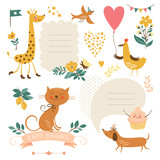 Fototapety Set of animals illustrations and graphic elements