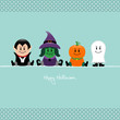 Halloween Dracula, Witch, Pumpkin & Ghost Retro Dots