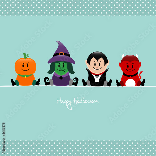 Halloween Pumpkin, Witch, Vampire & Devil Retro Dots