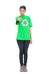 Pretty black haired model wearing recycling tshirt pointing at c