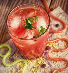 cocktail of tomato juice with ice and spices