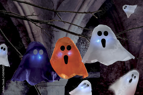 halloween scene on dark background