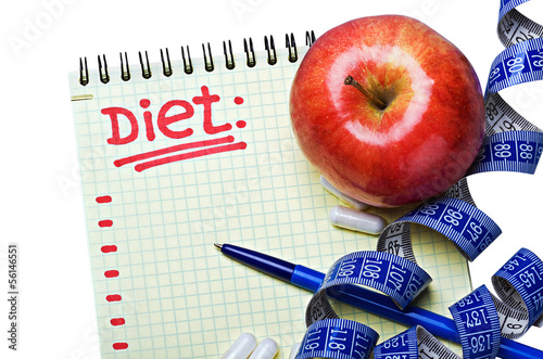 notepad with diet plan