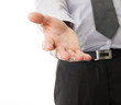 Businessman hand reaching to help or collect