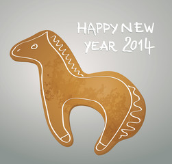 Gingerbread HORSE / Happy New Year greeting card 2014
