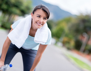 Woman resting while running