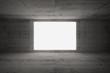 Empty white screen glows in dark abstract interior