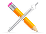 pencil and drawing compass icon