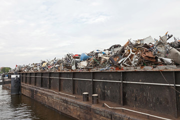 Container ship filled with scrap.