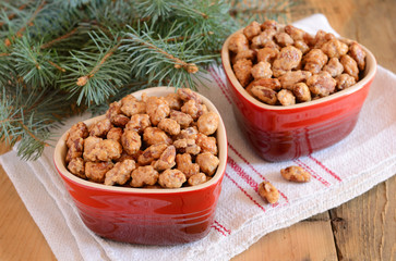 Sugared almonds and Christmas tree branches