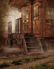 Stary zardzewiały pociąg w lesie
