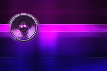 Music speaker on a purple background