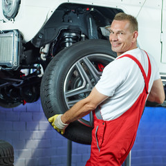 Motor mechanic changes a car tyre in a garage
