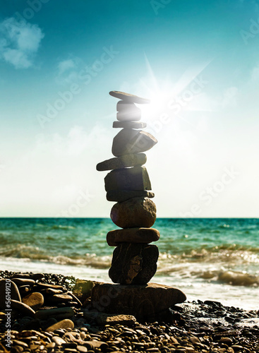 Pebble tower, abstract marine still life for your design