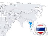 Thailand on map of Asia