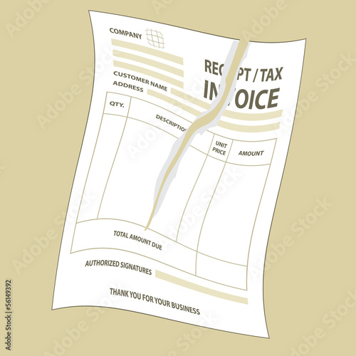 Torn tax invoice