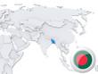 Bangladesh on map of Asia