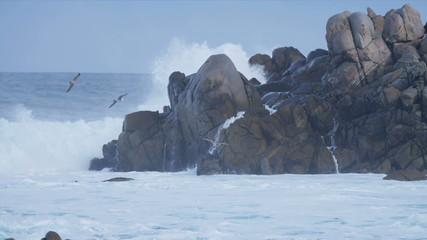 Offshore Waves Pounding Rocky Coastline