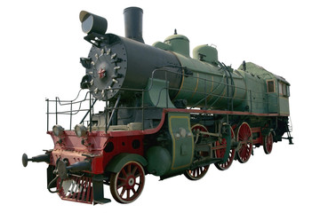 old green and black locomotive