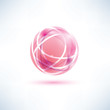 abstract red globe symbol